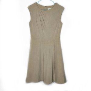 Calvin Klein Sleeveless Pleated Sheath Dress Tan 6